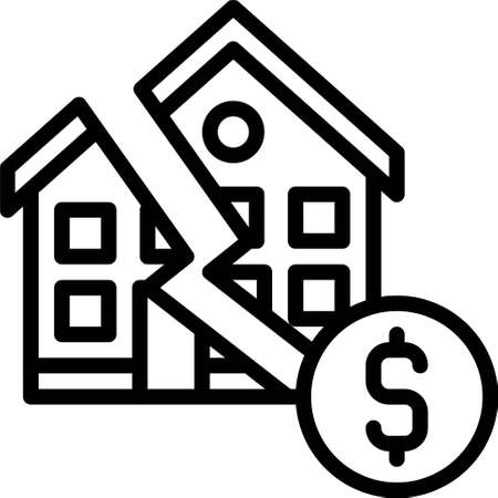Broken house with coin icon, Bankruptcy related vector illustration