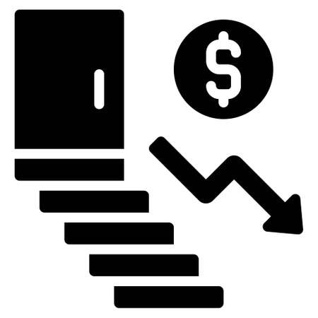 Coin going Down Stairs icon, Bankruptcy related vector illustration