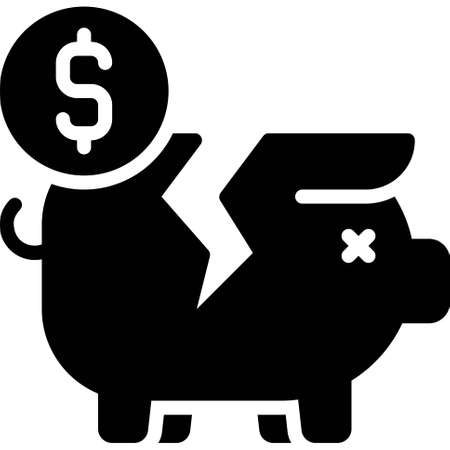 Broken Piggy bank icon, Bankruptcy related vector illustration