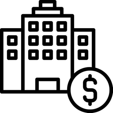 Hotel with coin icon, Bankruptcy related vector illustration