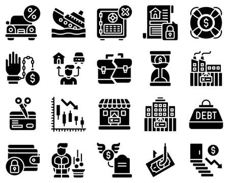 Bankruptcy related solid icon set 4, vector illustration