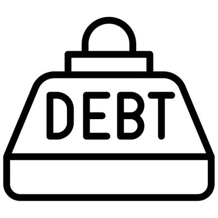 Debt Weight icon, Bankruptcy related vector illustration