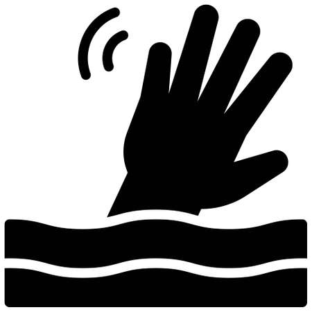 Drowning Hand icon, Bankruptcy related vector illustration