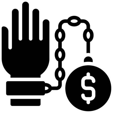 Hand chained with iron ball icon, Bankruptcy related vector illustration