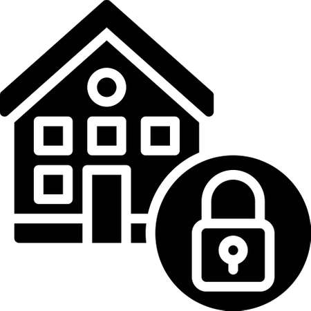 House and lock icon, Bankruptcy related vector illustration