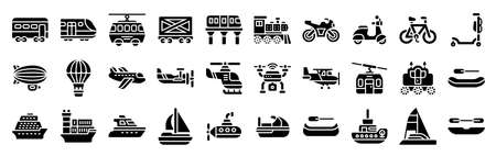Transportation related solid icon set 3, vector illustration