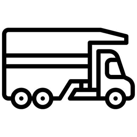 Semi-trailer truck icon, transportation related vector illustration
