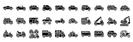 Transportation related solid icon set, vector illustration
