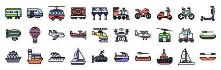 Transportation related fiiled icon set 3, vector illustration