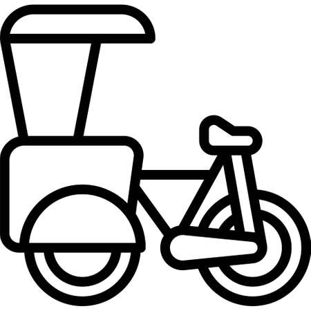 Cycle rickshaw icon, transportation related vector illustration Illustration