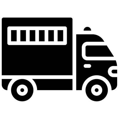 Prisoner transport vehicle icon, transportation related vector illustration