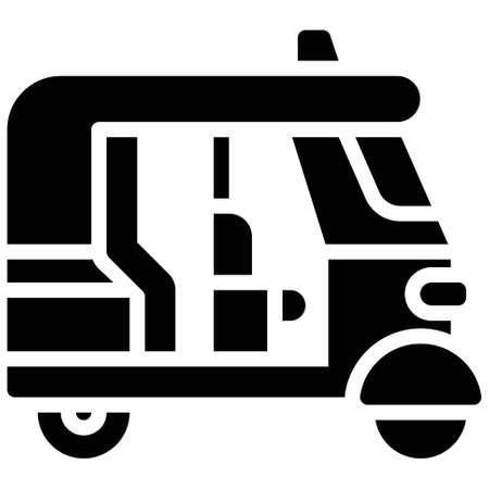 Auto rickshaw icon, transportation related vector illustration Illustration