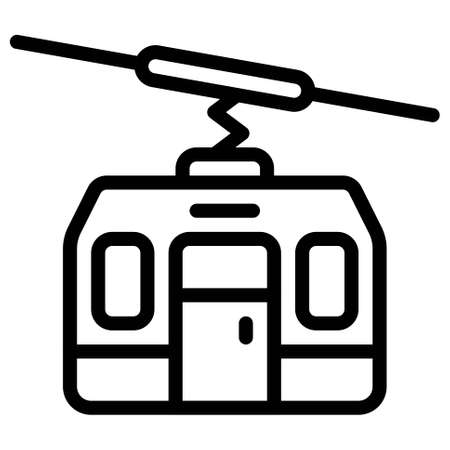 Aerial lift icon, transportation related vector illustration