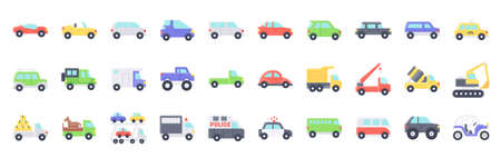 Transportation related flat icon set, vector illustration
