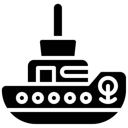 Tugboat icon, transportation related vector illustration