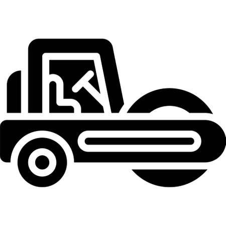 Road roller icon, transportation related vector illustration
