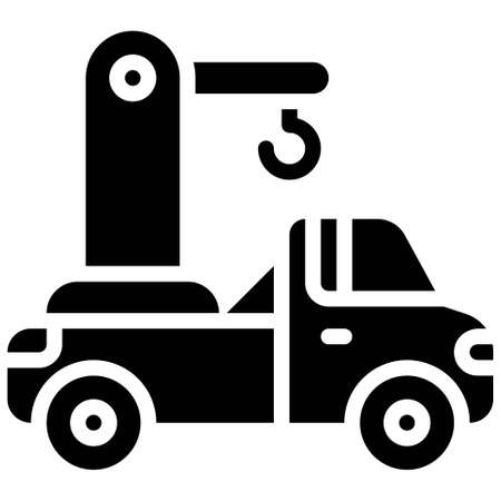 Tow truck icon, transportation related vector illustration