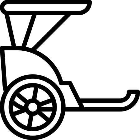 Rickshaw icon, transportation related vector illustration Illustration