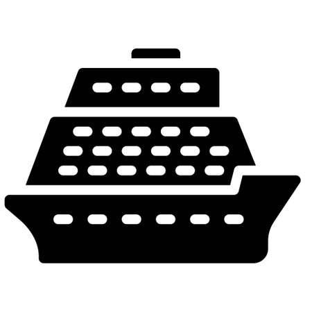 Cruise ship icon, transportation related vector illustration