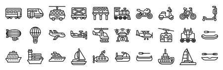 Transportation related line icon set 3, vector illustration