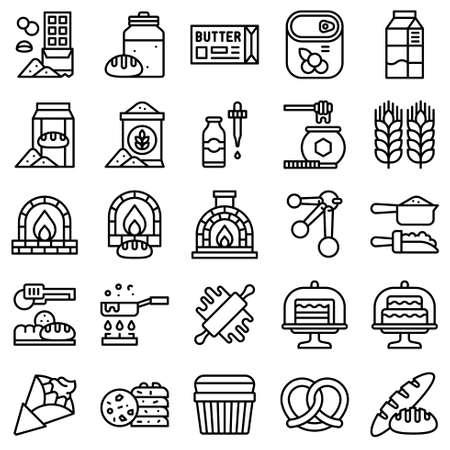 Bakery and baking related icon set 3, line style Vektorgrafik