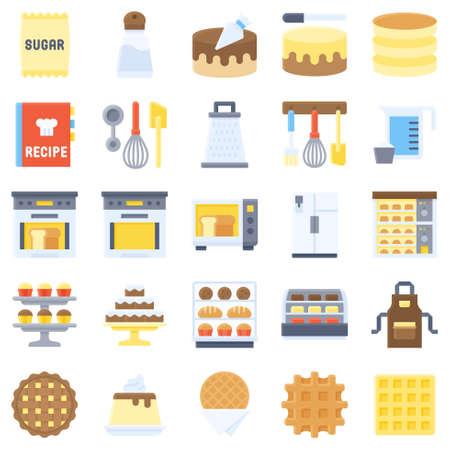 Bakery and baking related icon set 4, flat style