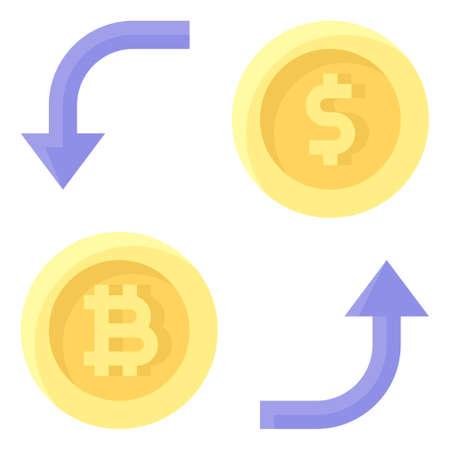 Bitcoin Exchange icon, Cryptocurrency related vector illustration Ilustración de vector