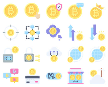 Bitcoin and Cryptocurrency related vector icon set, flat style Ilustración de vector