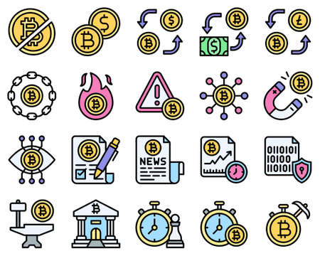 Bitcoin and Cryptocurrency related vector icon set 2, filled style
