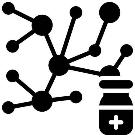 Molecular structure icon, Vaccine Development related vector illustration