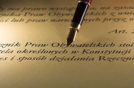 text with gold pen document macro elegant Banco de Imagens
