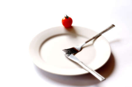 prong: clock,  crutch,  cutter,  diet,  eat,  fork,  hour-hand,  knife,  loss,  meal,  platter,  prong,  red,  starvation,  starve,  time,  tomato,  vegetable,  weight,  weight loss,  white,