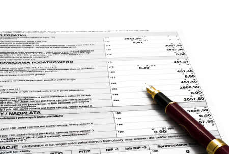 accountancy:  ballpoint, black, blanks, bureaucracy, dinero, filing, form, government, income, money, paper, paperwork, pay, payment, pen, question, refund, return, sort, status, tax,  wage, white, work, year, buissnes, office, bookkeeping, accountancy, Poland Stock Photo