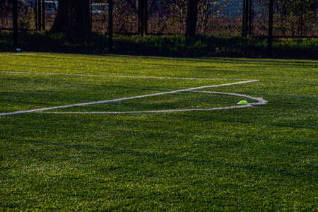 training football pitch with artificial green grass and training aids illuminated by the afternoon warm sun