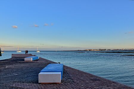 beautiful landscape with the city and the ocean on a warm day, on the Spanish Canary Island Fuerteventura