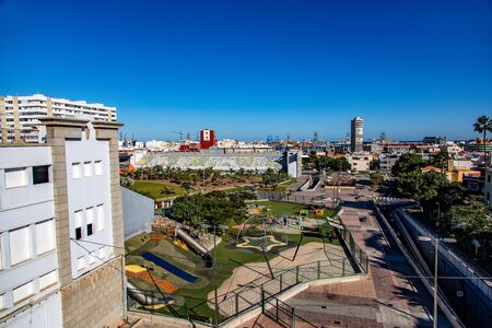a beautiful original head of the Spanish city, the capital of Gran Canaria, Las Palmas, from a lookout point to colorful houses Stock fotó