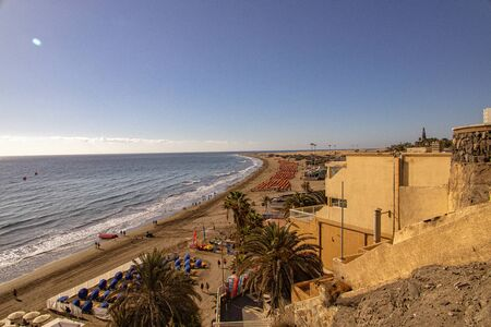 beautiful sunny landscape with the beach del Ingles on the Spanish Canary Island Gran Canaria 版權商用圖片