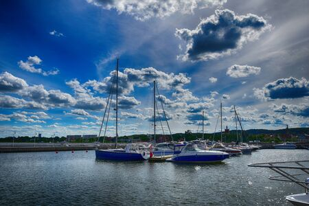 beautiful landscape with the port of Sopot in Poland and yachts on a warm spring day,