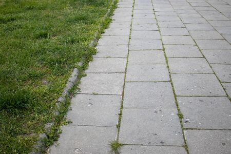 gray pavement background with concrete slabs and lawn with green grass