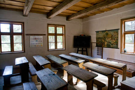 beautiful historic interiors of an old village school in Poland Stock Photo