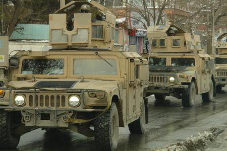 taliban: Kabul, Afghanistan - February 2, 2012: a us military convoy in Kabul. Documentary edition. Editorial