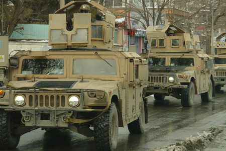 Kabul, Afghanistan - February 2, 2012: a us military convoy in Kabul. Documentary edition. Editorial