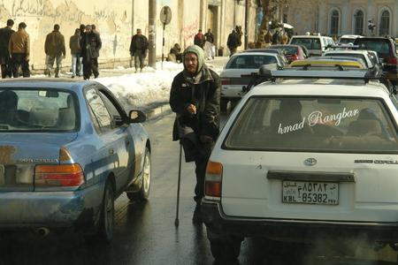 taliban: Kabul, Afghanistan - February 2, 2012: a Street in downtown Kabul. Documentary edition.