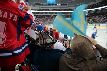 Minsk, Belarus - may 15, 2014: the 2014 world Cup. The world hockey championship Russia - Kazakhstan in the Palace of sport in Minsk