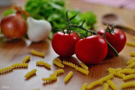 heathy diet: Arranged tomato Stock Photo