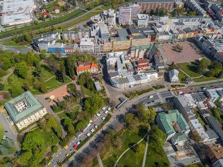 Aerial view of center Zlin, modern town in Moravia, Czech republic