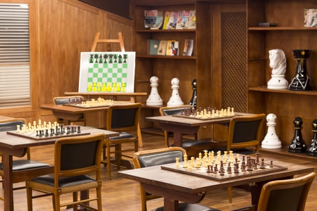 bishop: Chess club and treining board Stock Photo