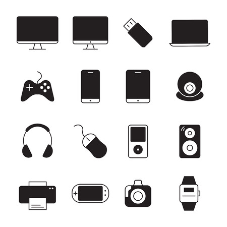 photo printer: Electronic devices thin line icons