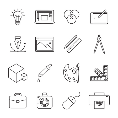 Graphic and web design line icons