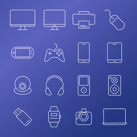 electronic devices: Electronic devices thin line icons